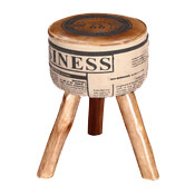 Novelty 20 Mango Wood 3-Legged Round Ottoman Stool