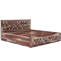 Checkered Solid Wood Captains Storage Platform Bed