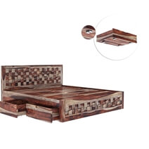 Walsenburg Checkered Solid Wood Captains Storage Platform Bed