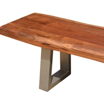 "Natural Edge Acacia Wood & Steel 77"" Bench"