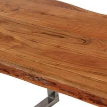 Natural 78 Acacia Wood & Steel Base Live Edge Dining Table