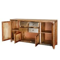 Frontier Rustic Patches Reclaimed Wood 4 Drawer Large Sideboard
