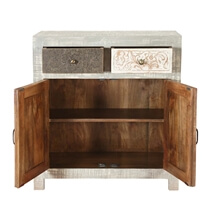 Barada Chic Rustic Mango Wood 2 Drawer Accent Storage Cabinet