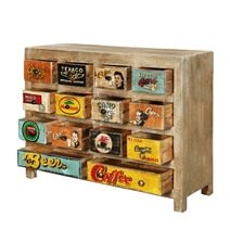 Electra Rustic Mango Wood 14 Drawer Dresser Chest