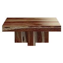 Dallas Midnight Solid Wood Square Pedestal Rustic Coffee Table