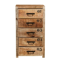 Tierra Industrial Rustic Mango Wood 5 Drawer Chest