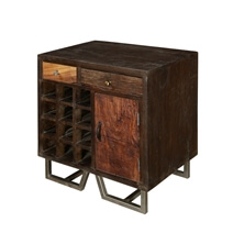 Modern Pioneer Reclaimed Wood Industrial Wine Cabinet