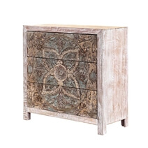 Floral Hand Carved Mandala Mango Wood Small White Dresser w 3 Drawers