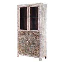 Floral Mandala Handcarved Rustic Solid Wood Display Cabinet Armoire