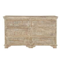 Carolina Distressed Mango Wood White Bedroom Dresser With 6 Drawers