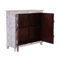 Collice White Finish Rustic Mango Wood Accent Storage Cabinet