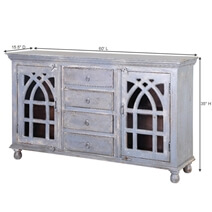 Mughal Rustic Mango Wood Glass Door 4 Drawer Large Sideboard Cabinet