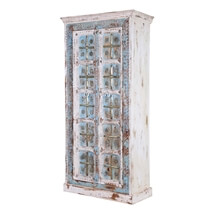 Charles Rustic Solid Mango Wood Tall Cabinet Armoire With Shelves