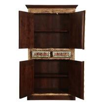 Classic Empire 4 Door Brass Inlay Solid Wood Armoire Storage Cabinet