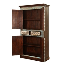 Forgotten Empire Solid Wood Brass Inlay 4 Door Tall Storage Cabinet