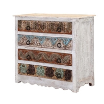 Ohio Hand Carved Solid Wood White Bedroom Dresser With 4 Drawers