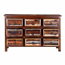 California Chic Rustic Reclaimed Wood Dresser Chest With 9 Drawers