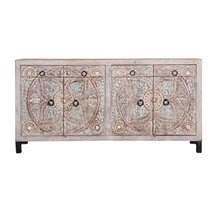 Turquoise Trail Frosted White Hand Carved 4 Drawer Large Sideboard