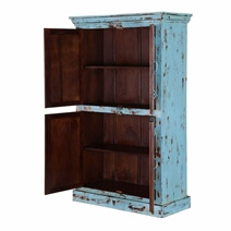 Bancroft Distress Blue Rustic Solid Wood Tall Storage Cabinet Armoire