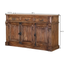 Ansonia Rustic Solid Wood 3 Drawer Sideboard 2 Cabinet