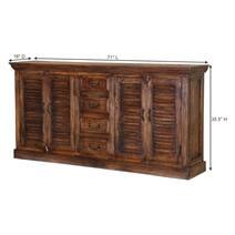 Vinton Rustic Solid Wood Shutter Door 4 Drawer Large Sideboard