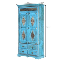 Turquoise Trail Brass Inlay Solid Wood Armoire Cabinet With Shelves