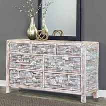 Rehoboth Distressed Finish Solid Wood 7 Drawer Horizontal Dresser