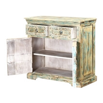 Easmor Distressed Reclaimed Wood 2 Drawer Small Sideboard Cabinet