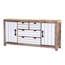 Elmore Modern Distressed Reclaimed Wood 4 Drawer Large Sideboard