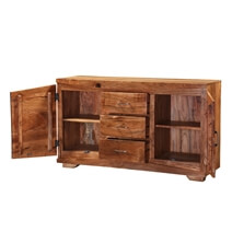 Modern Frontier Acacia Wood 3 Drawer Rustic Buffet Cabinet