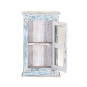 Waterfall Blue Reclaimed Wood Hanging Curio Display Cabinet