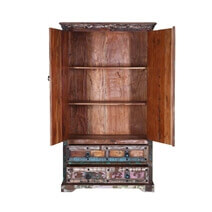 Burton Color Patches Rustic Reclaimed Wood Armoire w Shelves & Drawers