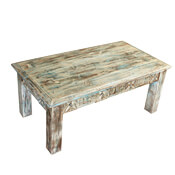 """Winter White Reclaimed Wood Hand Carved 43"""" Coffee Table"""