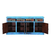 Appalachian Distressed Blue Reclaimed Wood 4 Drawer Large Sideboard