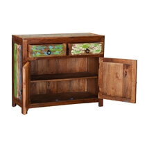 Monet Reclaimed Wood 2 Drawer Rustic Small Buffet Cabinet