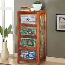 Modern Pioneer Colors Reclaimed Wood 4 Drawer Tall Dresser