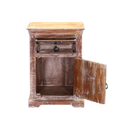 Winter Gothic Reclaimed Wood Nightstand End Table Cabinet