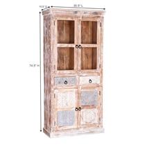 Exeter Reclaimed Wood Glass Door 2 Drawer Display Cabinet