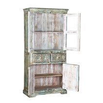 Morriston Distressed Solid Reclaimed Wood And Glass Door Armoire