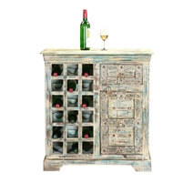 Winter Gothic Reclaimed Wood Hand Carved Wine Bar Modular Cabinet