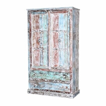 Summer Sky Gothic Solid Reclaimed Wood Freestanding Wardrobe Armoire