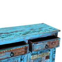 Bolivar Distressed Blue Reclaimed Wood 3 Drawer Large Sideboard