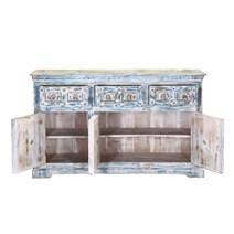 Volente Distressed Reclaimed Wood 3 Drawer Rustic Sideboard Cabinet