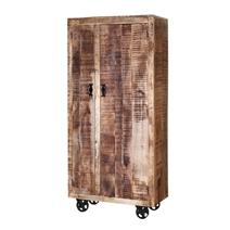 Industrial Pioneer Rustic Solid Wood  Armoire Wardrobe With Shelves