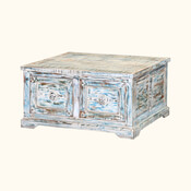 Winter Morning Distressed Reclaimed Wood Square Coffee Table Chest