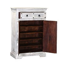 Hallowell Winter White Reclaimed Wood Rustic 2 Drawer Storage Cabinet