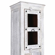 Tudor Multi-Door Solid Reclaimed Wood Tall Narrow White Linen Cabinet