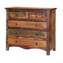 Jamestown Rustic Solid Reclaimed Wood Bedroom Dresser With 5 Drawers