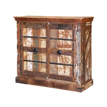 Barcelona Gothic Shutter Door Reclaimed Wood Storage Cabinet