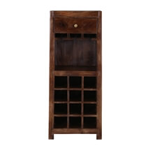 Alexandria Rustic Solid Wood Single Drawer Wine Bar Cabinet